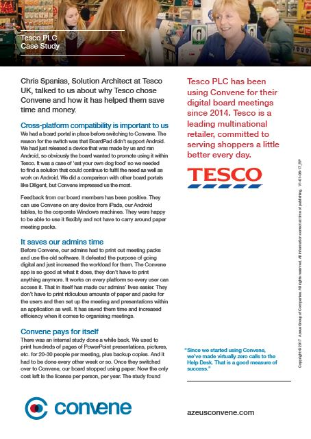 Tesco save time and money and has sustainable meetings on the board meeting app
